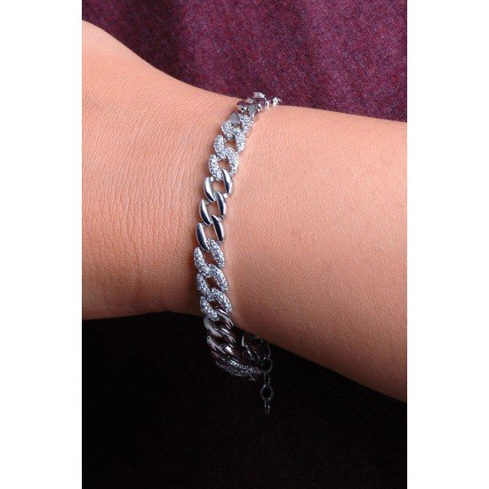 The inlaid chain bracelet - original silver plated 925