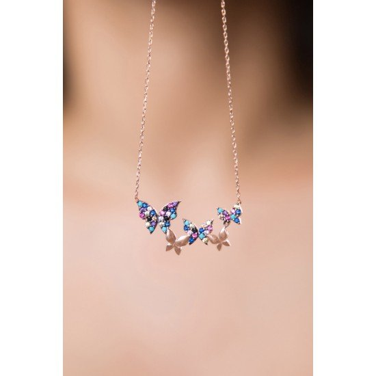 Butterfly Flock Necklace - Genuine Silver 925