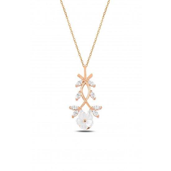 Magnolia  Flower Necklace - Genuine 925 Silver
