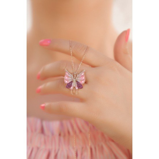 Spring Butterfly Necklace - Genuine Silver 925