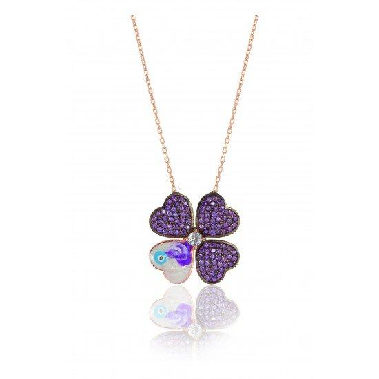 Spring flower necklace - genuine silver 925