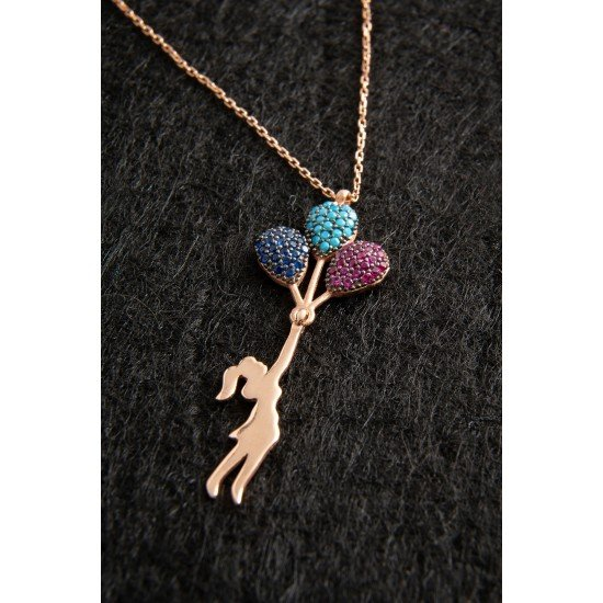 Balloon Girl Necklace - 925 Silver - Plated Gold
