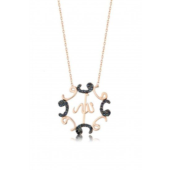 Allah's name necklace and frame studded with black zircon - genuine silver 925