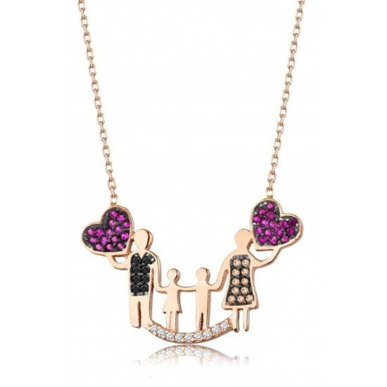 Family love necklace - Genuine Silver - 925