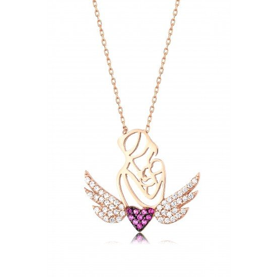 Mother angel necklace - Genuine Silver 925